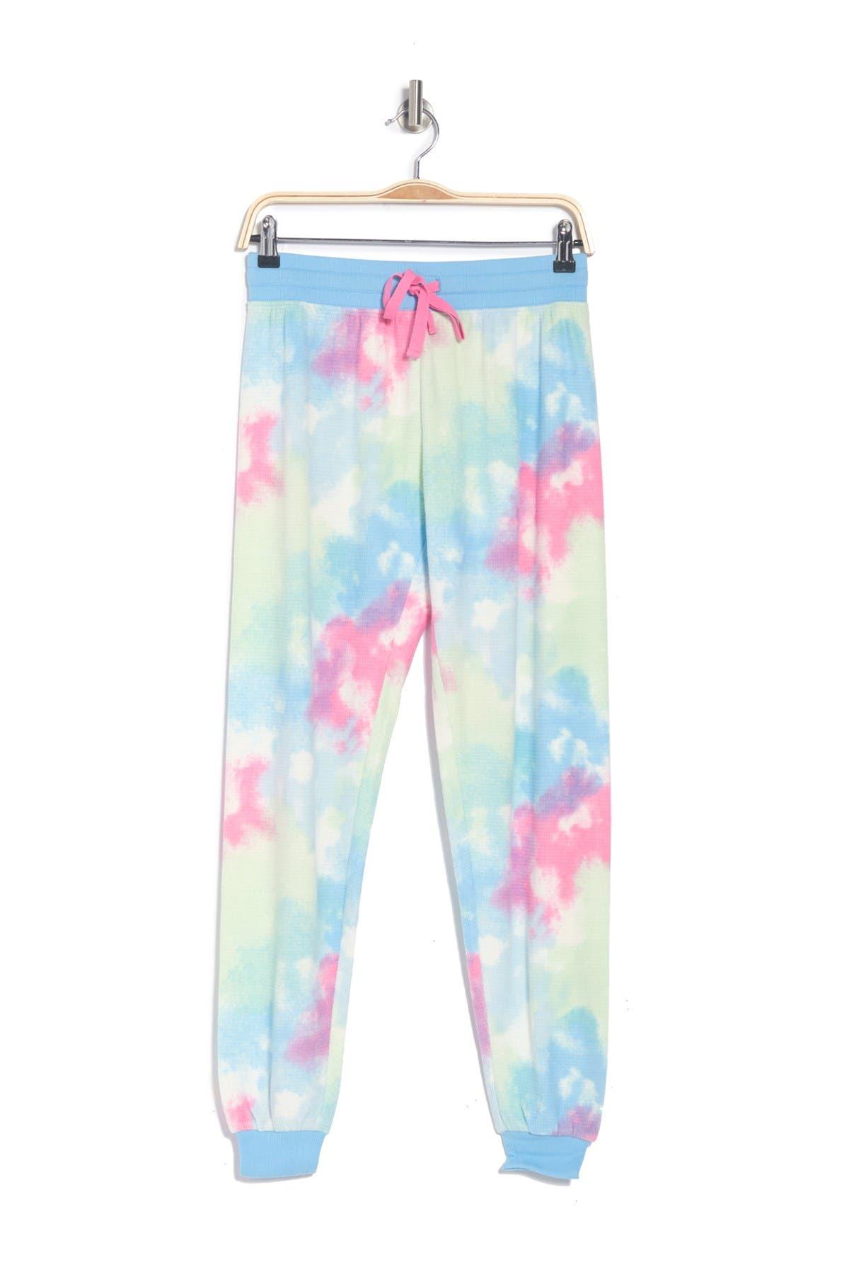 Free Press Waffle Microfleece Patterned Pajama Jogger Pants