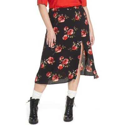 Plus Size Bp. X Claudia Sulewski Front Slit Midi Skirt, Black
