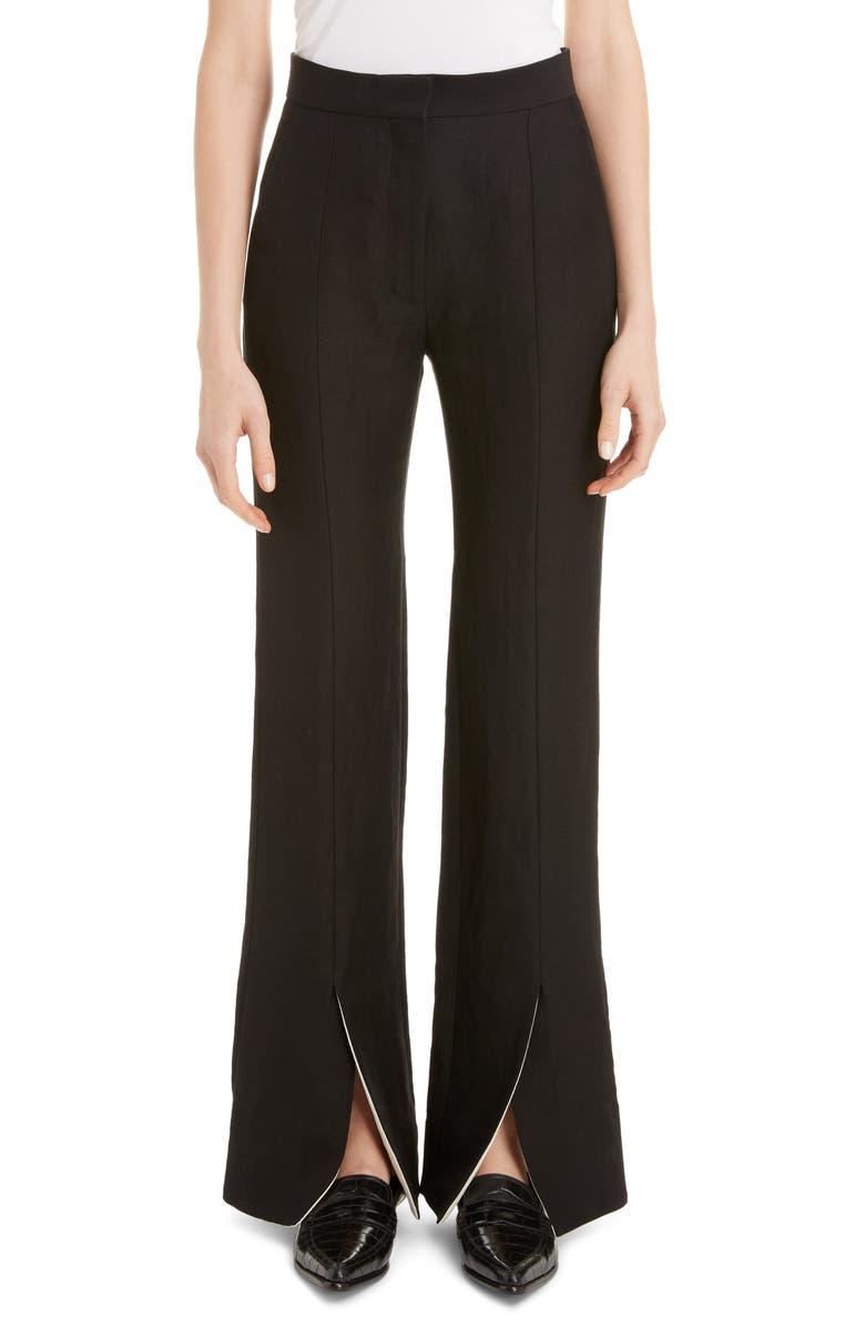 LOEWE Front Slit Linen Blend Flare Pants, Main, color, 001