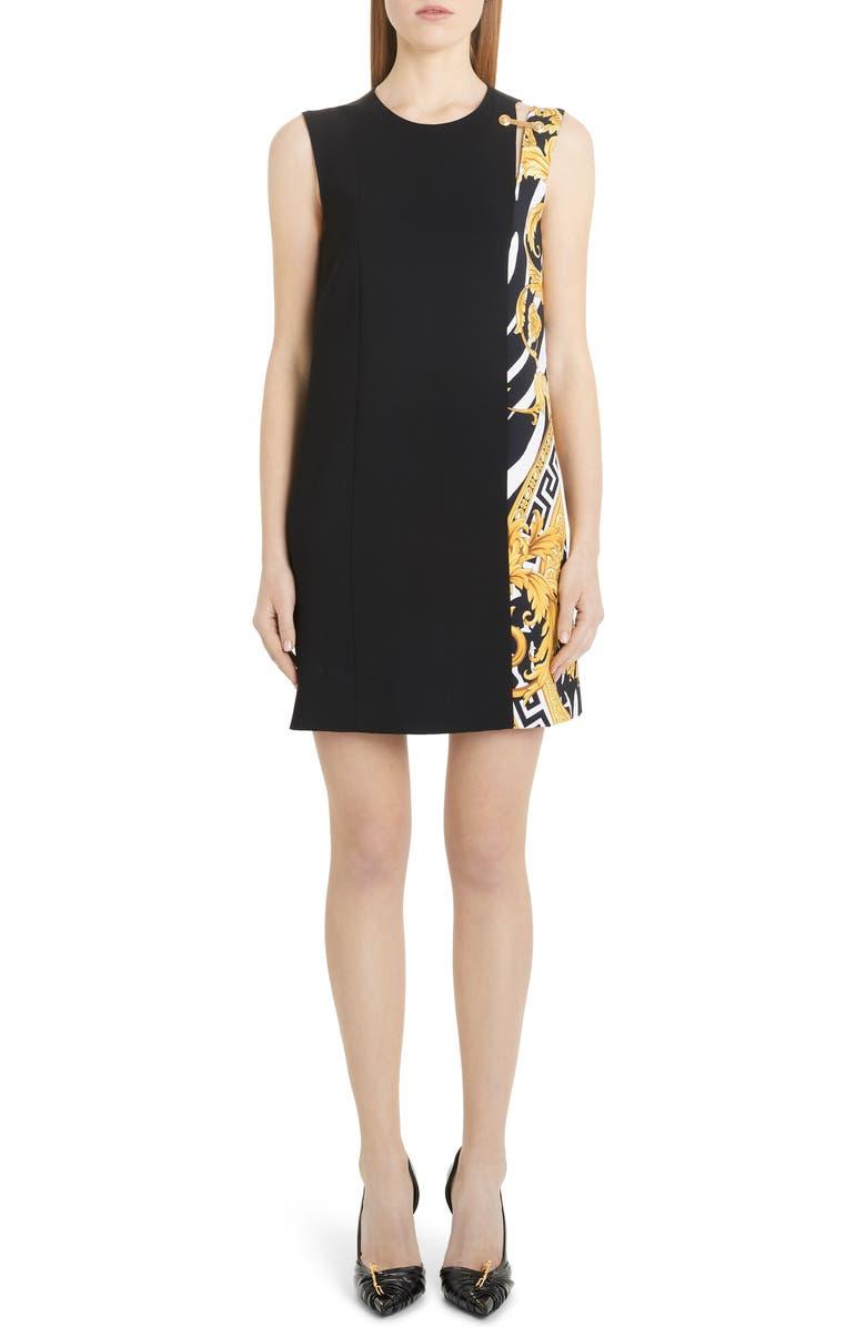 VERSACE Split Barocco Print Shift Dress, Main, color, BLACK