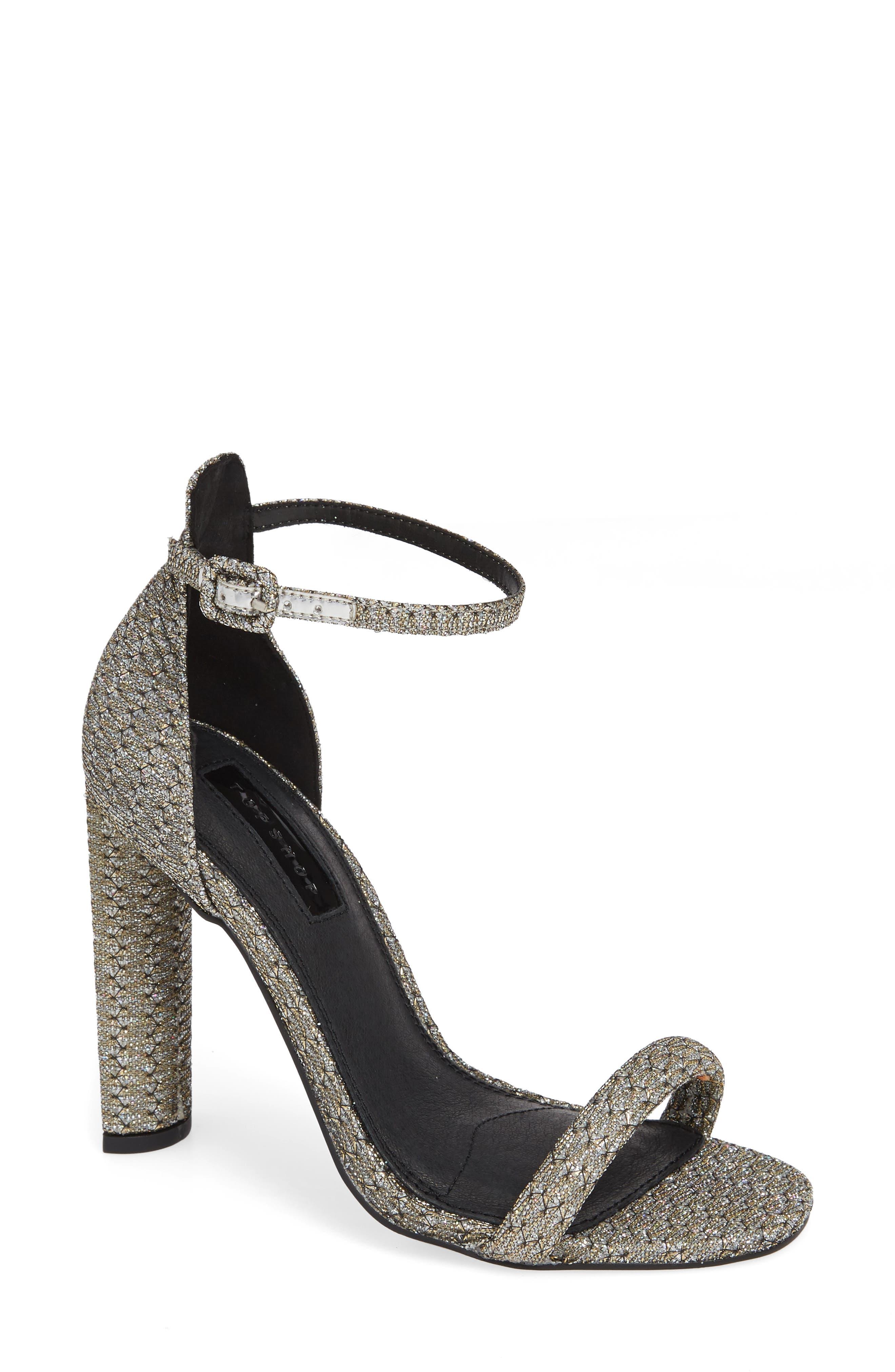 Topshop Robyn Ankle Strap Sandal- Metallic