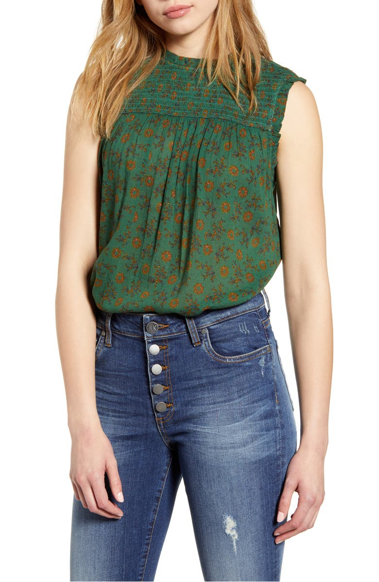 Printed Sleeveless Top, Main, color, GREEN DITSY FOLK PRINT