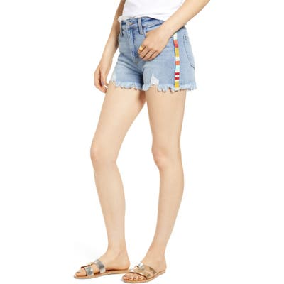 Tinsel Stripe Cutoff Denim Shorts, Blue