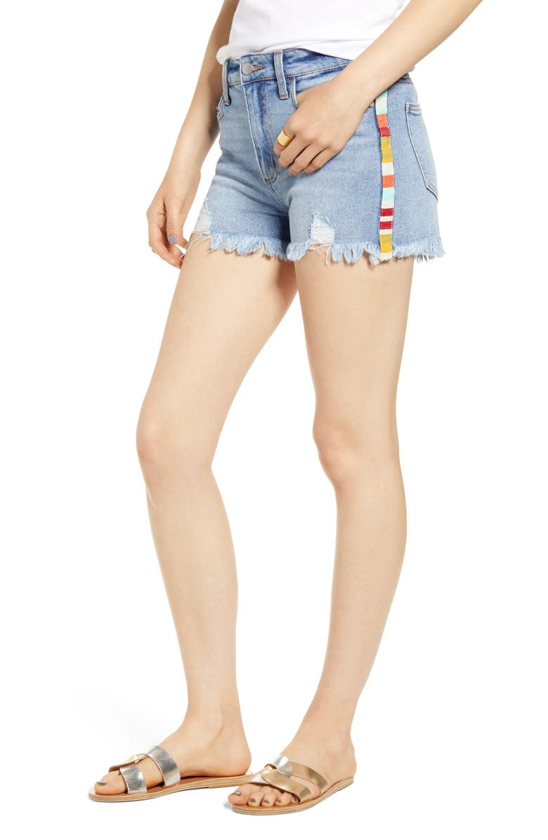 TINSEL Stripe Cutoff Denim Shorts, Main, color, YELLOW RED STRIPE