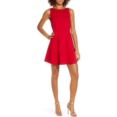 Lulus Special Kind Of Love Backless Skater Dress, Red