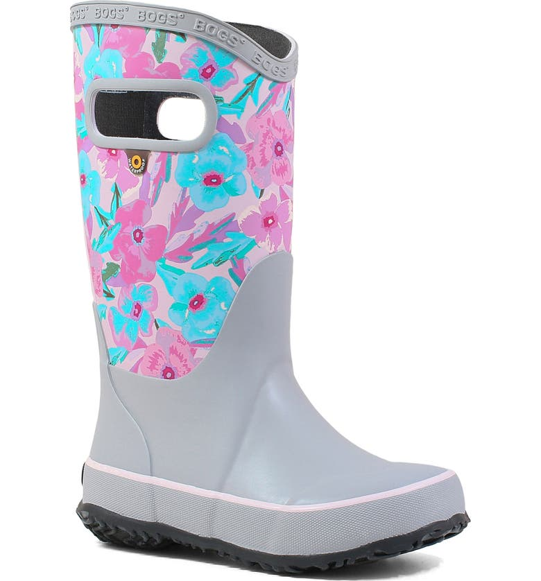 BOGS Pansy Print Rubber Rain Boot, Main, color, LIGHT GRAY MULTI