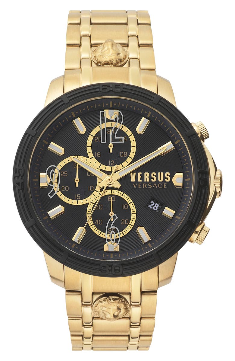VERSUS VERSACE Bicocca Bracelet Watch, 46mm, Main, color, GOLD/ BLACK/ GOLD