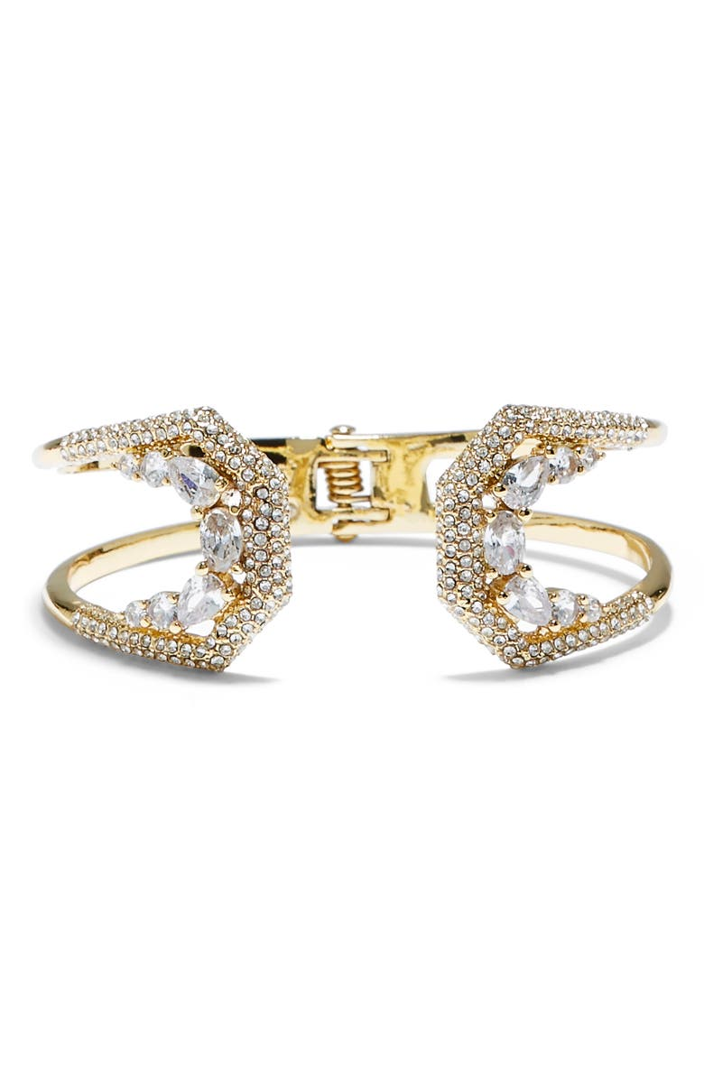 VINCE CAMUTO Pavé Crystal Hinge Cuff, Main, color, GOLD