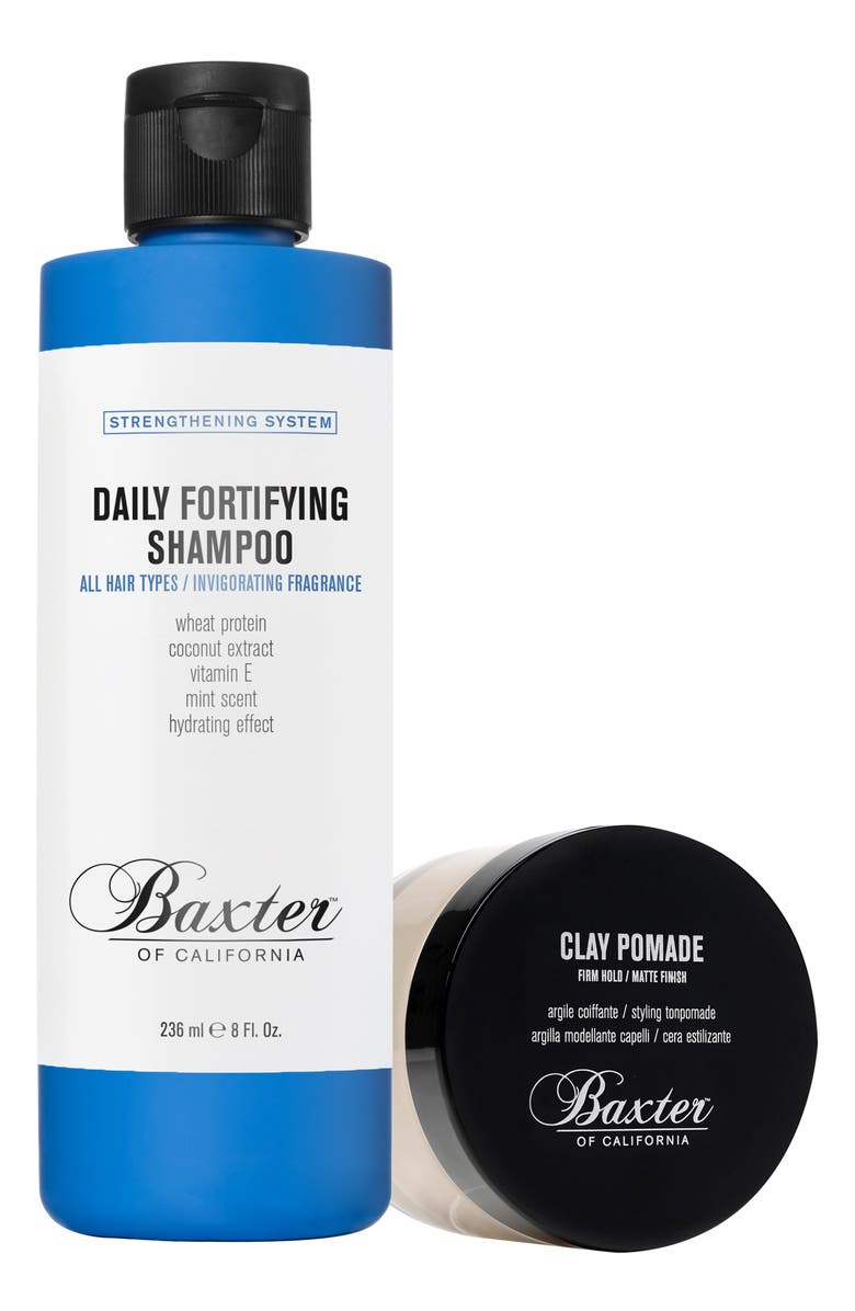 BAXTER OF CALIFORNIA Clay Pomade & Daily Fortifying Shampoo Duo, Main, color, NO COLOR