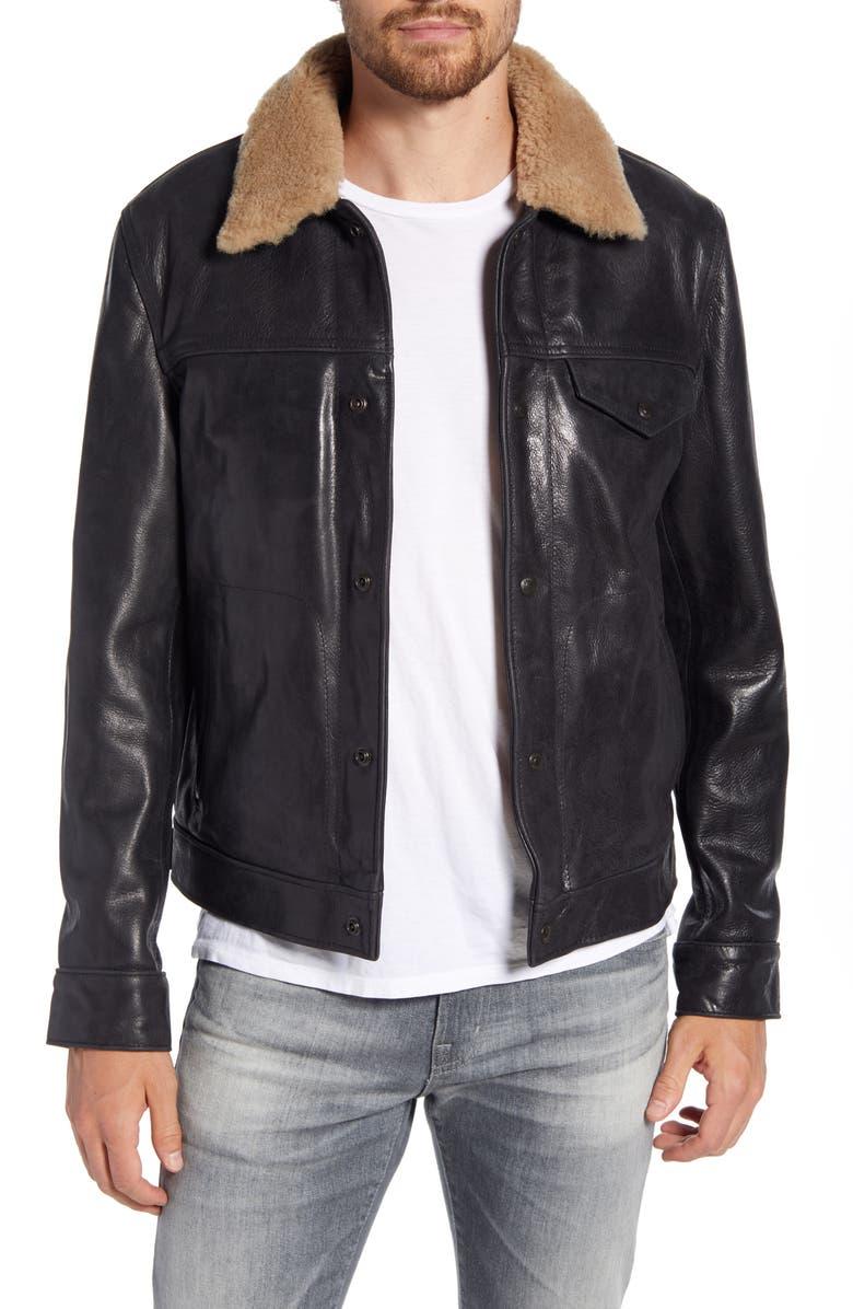 SCHOTT NYC Vintage Buffalo Leather Trucker Jacket with Genuine Sheepskin Collar, Main, color, BLACK
