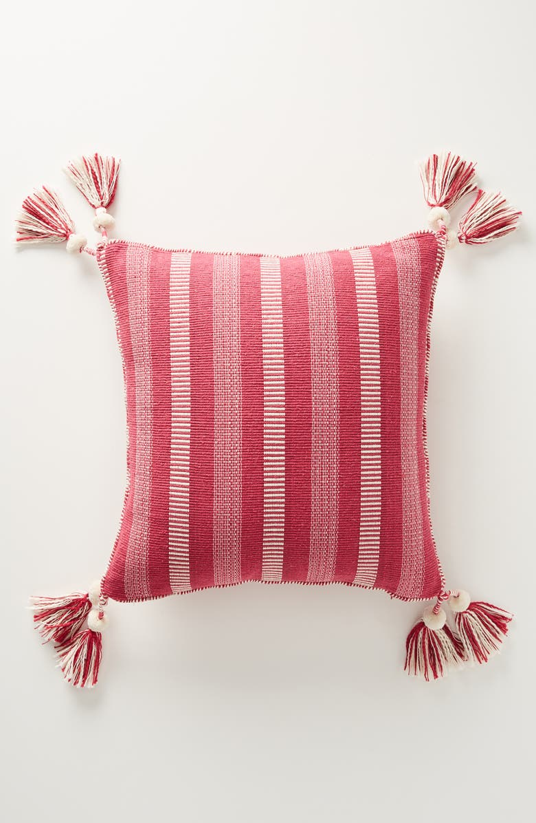 ANTHROPOLOGIE Ramona Stripe Tassel Accent Pillow, Main, color, PINK