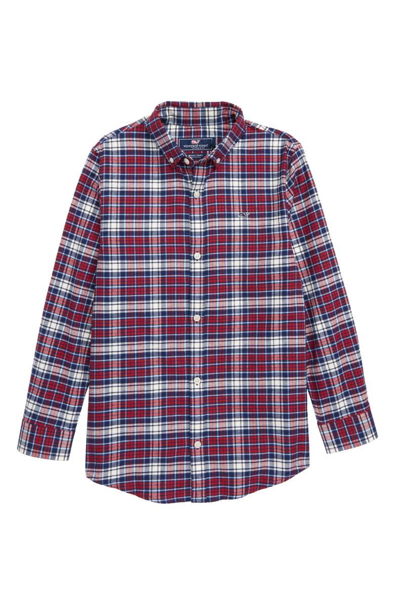 VINEYARD VINES Tower Ridge Flannel Shirt, Main, color, CALYPSO RED