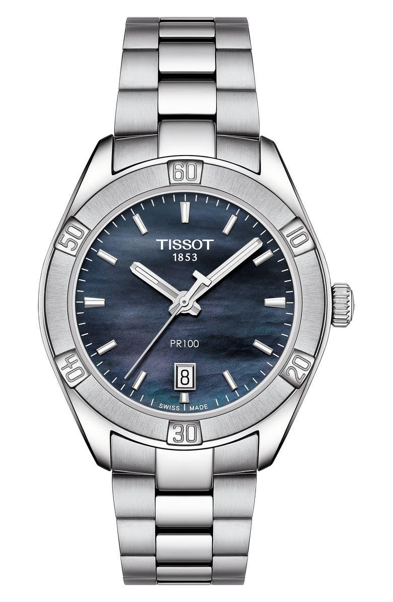 TISSOT PR 100 Sport Chic Bracelet Watch, 36mm, Main, color, SILVER/ BLACK MOP/ SILVER