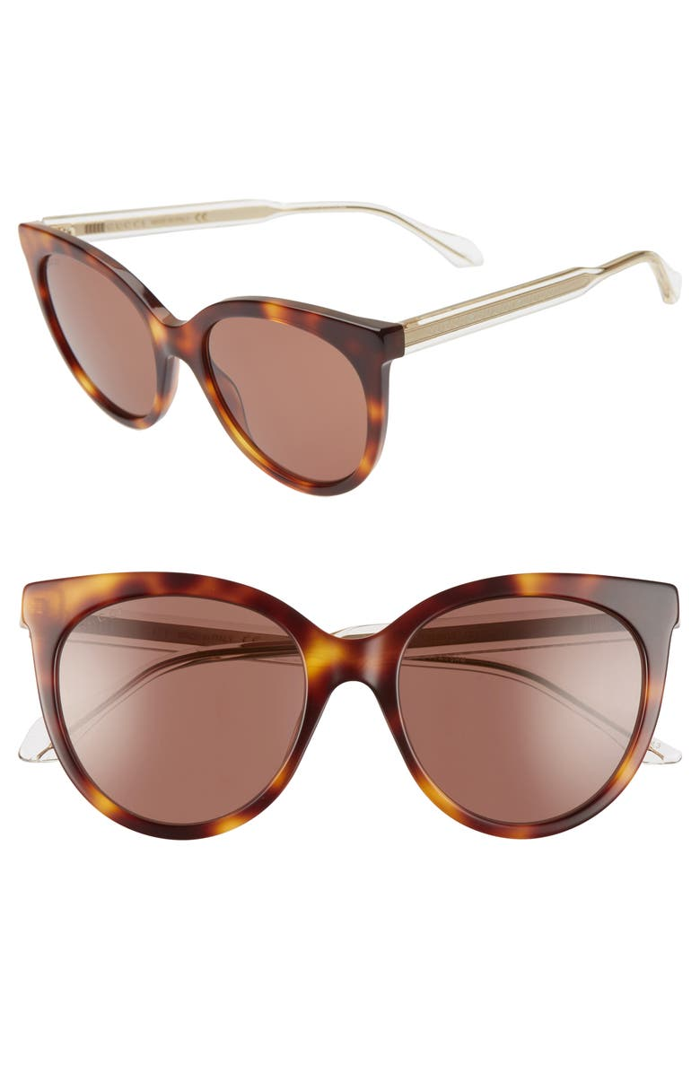 GUCCI 54mm Cat Eye Sunglasses, Main, color, HAVANA/ BROWN SOLID