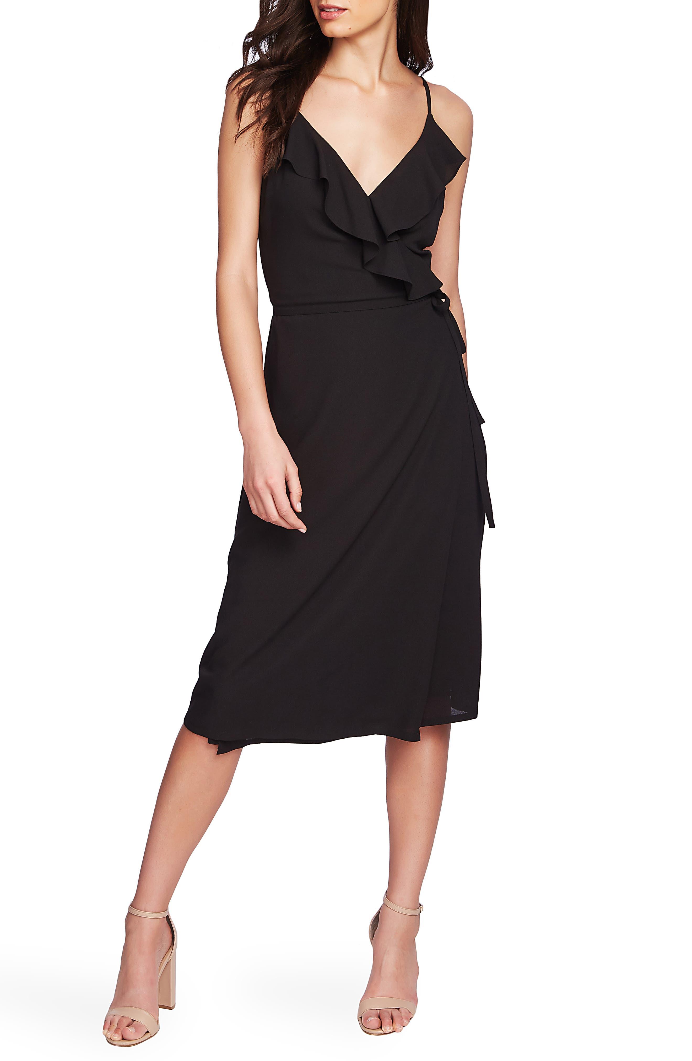 1.state Flounce Detail Wrap Dress, Black