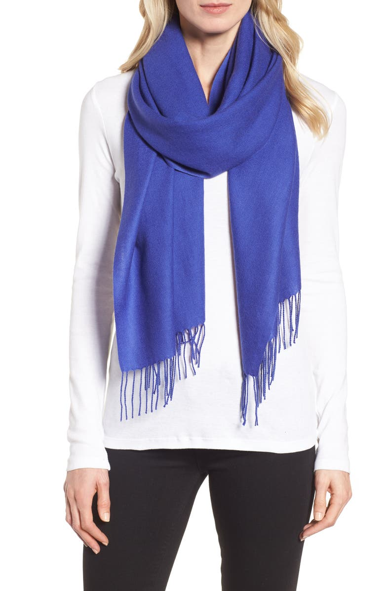 NORDSTROM Tissue Weight Wool &Cashmere Scarf, Main, color, BLUE CLEMATIS