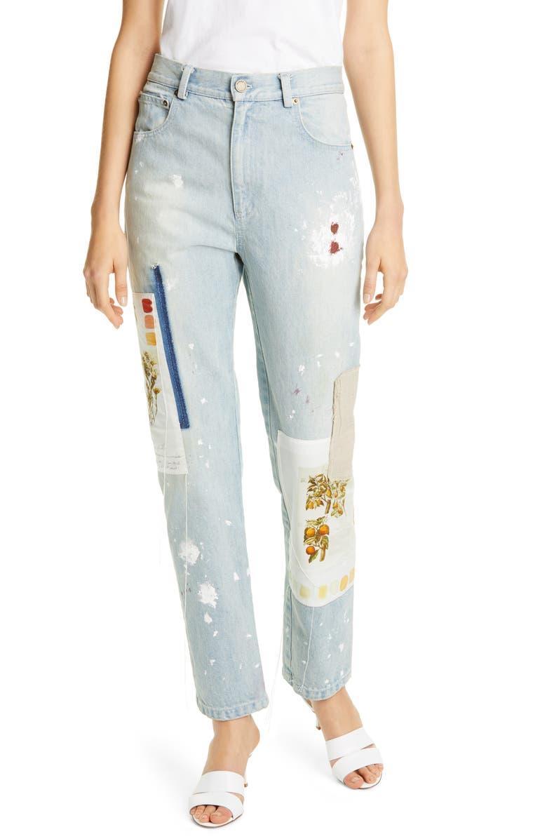 MONSE Patchwork & Paint Splatter Slim Straight Leg Jeans, Main, color, 473