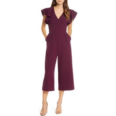 Eliza J Ruffle Sleeve Crepe Jumpsuit, Purple