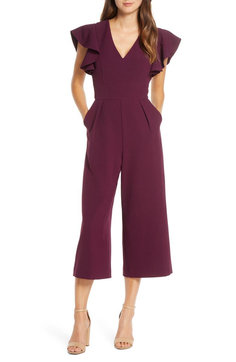 ELIZA J Ruffle Sleeve Crepe Jumpsuit, Main, color, PLUM