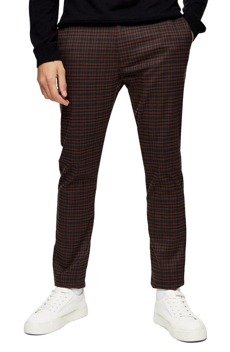 TOPMAN Heritage Skinny Fit Check Pants, Main, color, BROWN MULTI