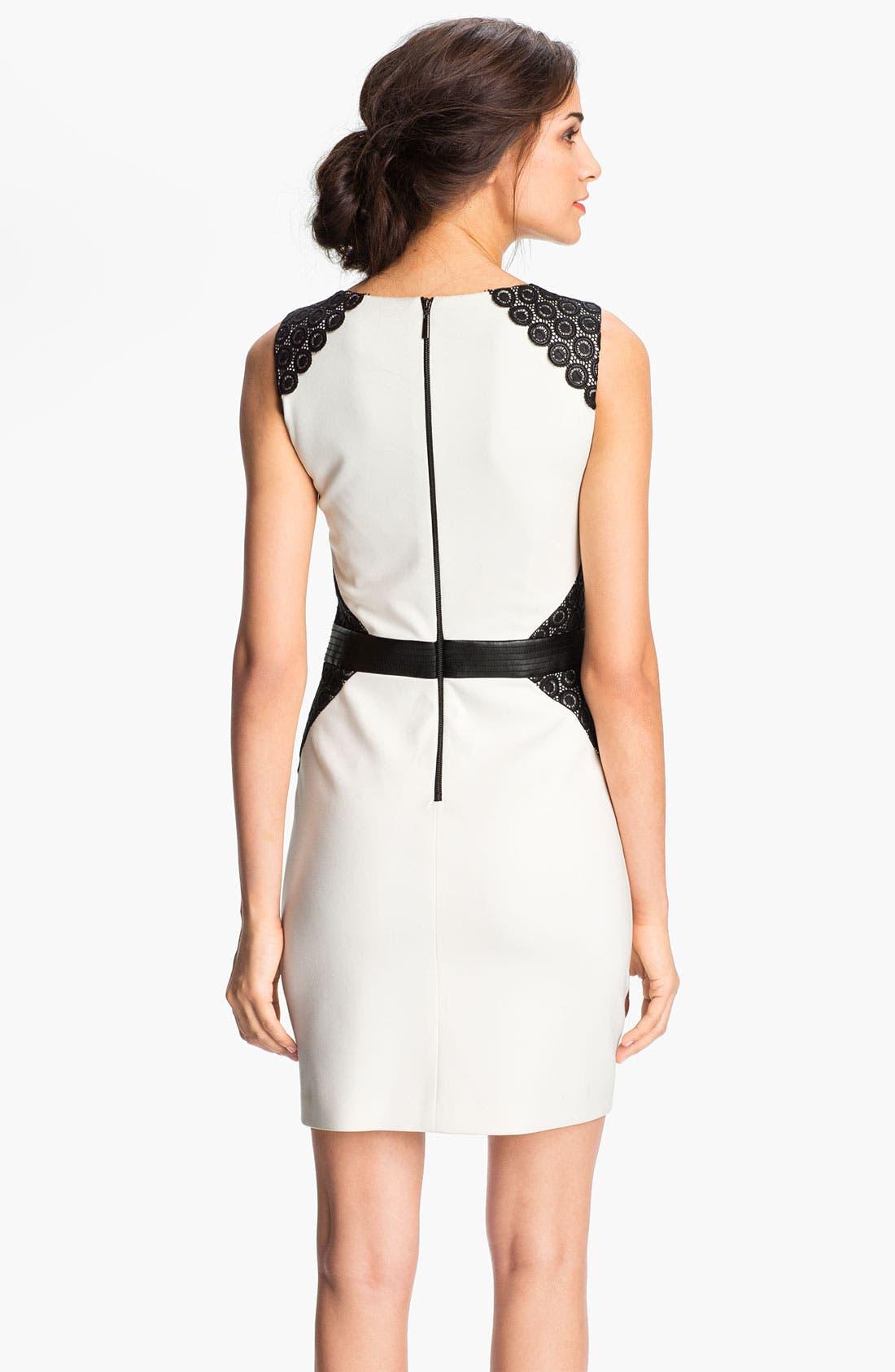 ,                             Lace Inset Ponte Sheath Dress,                             Alternate thumbnail 3, color,                             152