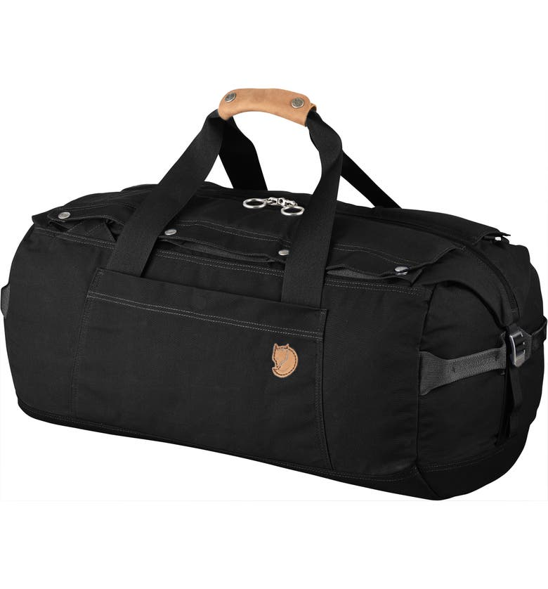 FJÄLLRÄVEN Duffle No. 6 Convertible Duffle Bag, Main, color, BLACK