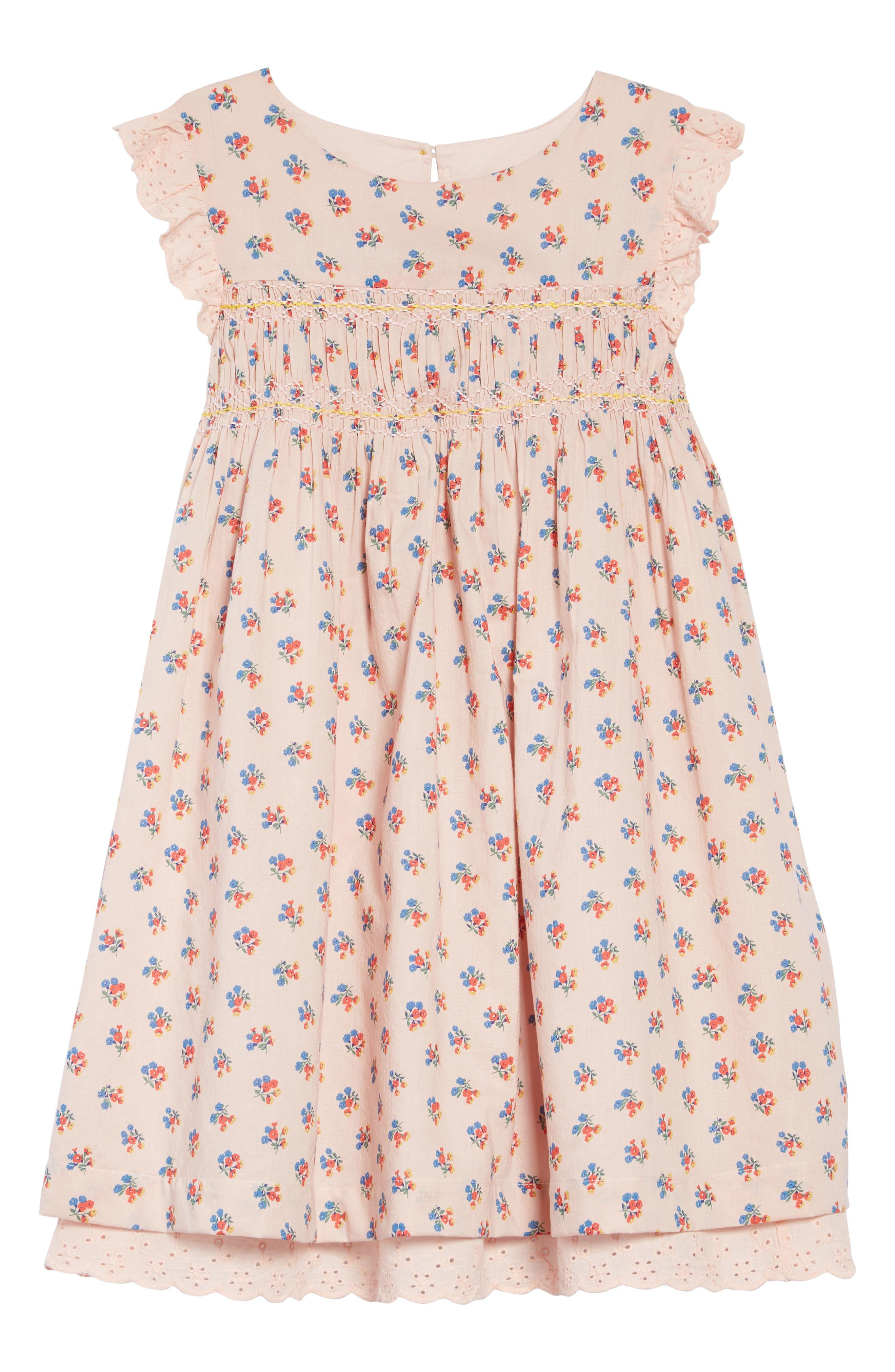 Nostalgic Smocked Dress, Main, color, PNK PINK VINTAGE POSY