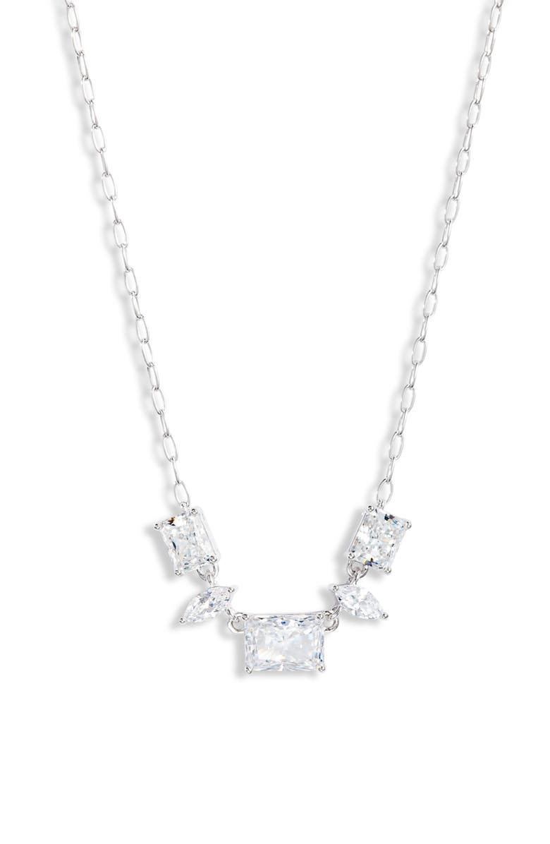 NADRI Rae Small Frontal Necklace, Main, color, RHODIUM