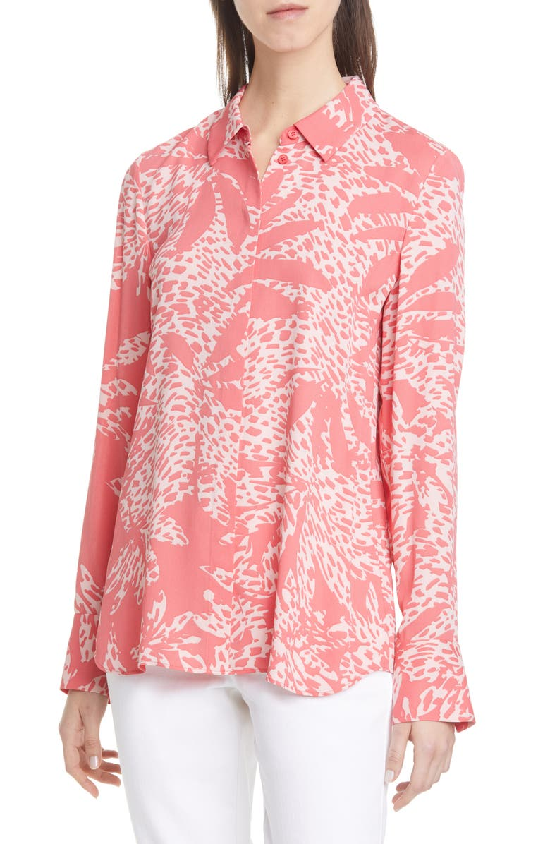 LAFAYETTE 148 NEW YORK Scottie Print Silk Shirt, Main, color, 650