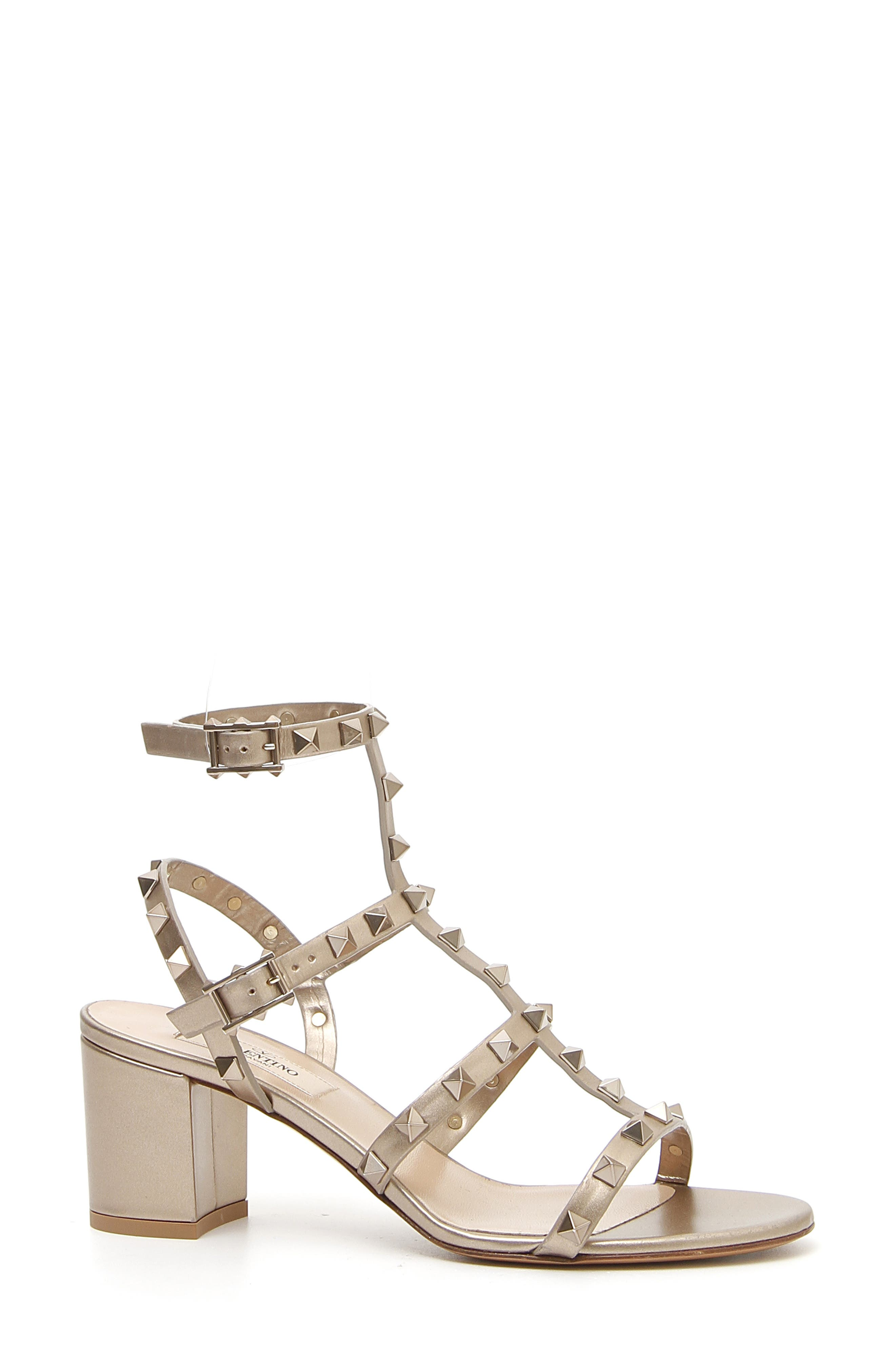 Rockstud Metallic Block Heel Sandal, Main, color, SKIN