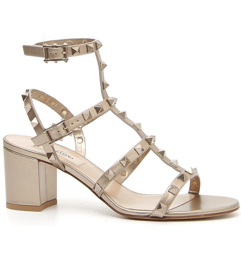 VALENTINO GARAVANI Rockstud Metallic Block Heel Sandal, Main, color, SKIN