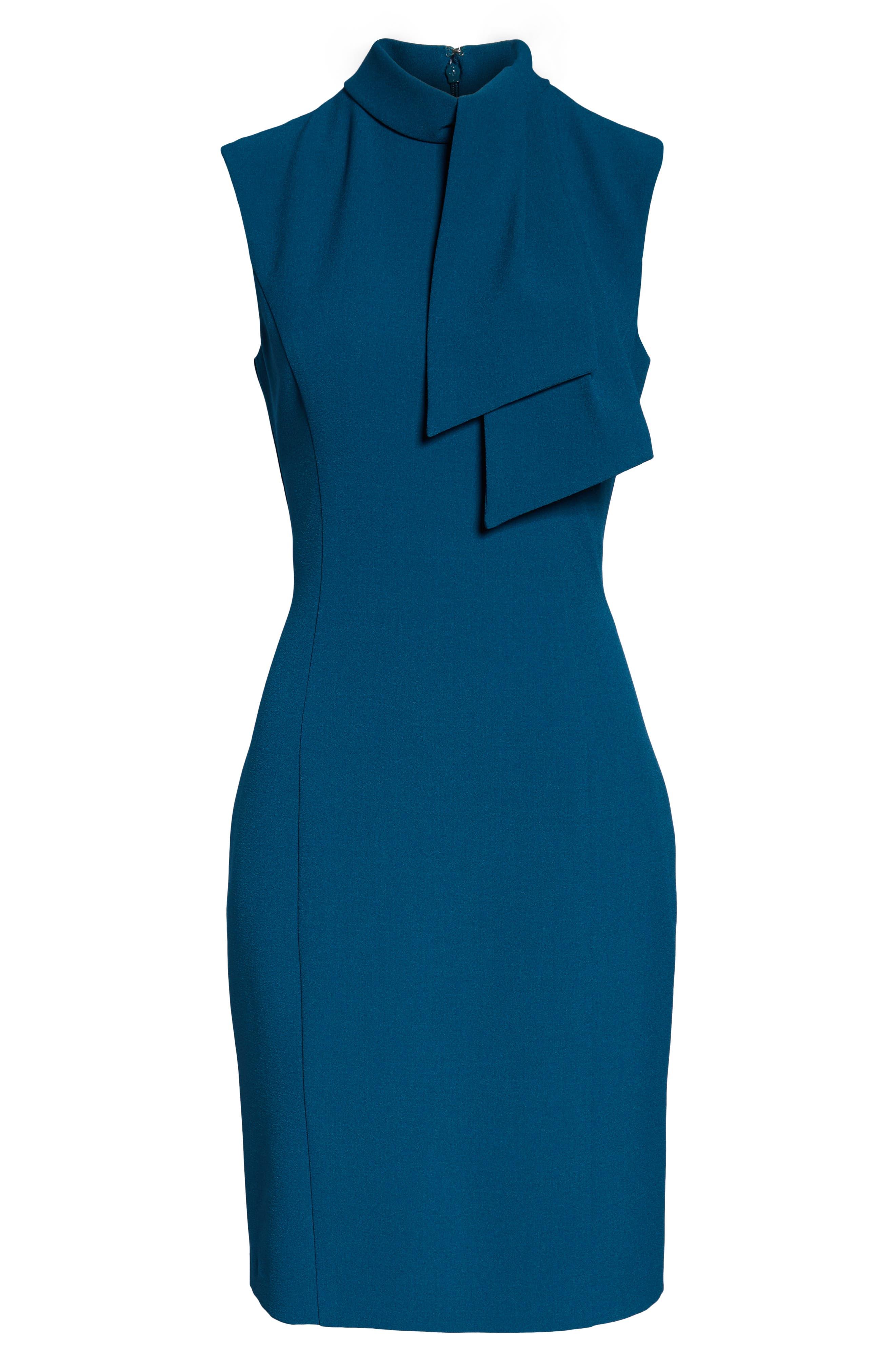 ,                             Tie Neck Sheath Dress,                             Alternate thumbnail 7, color,                             PEACOCK