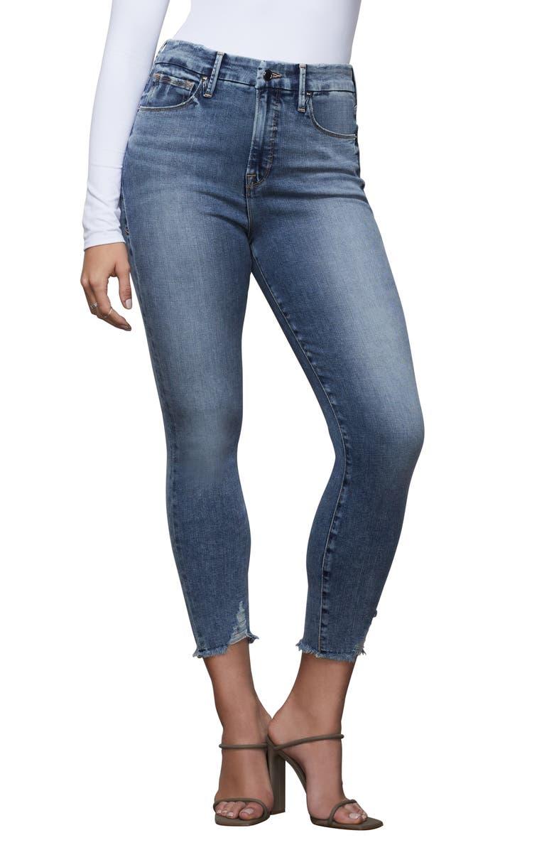 GOOD AMERICAN Good Waist High Waist Crop Skinny Jeans, Main, color, BLUE395