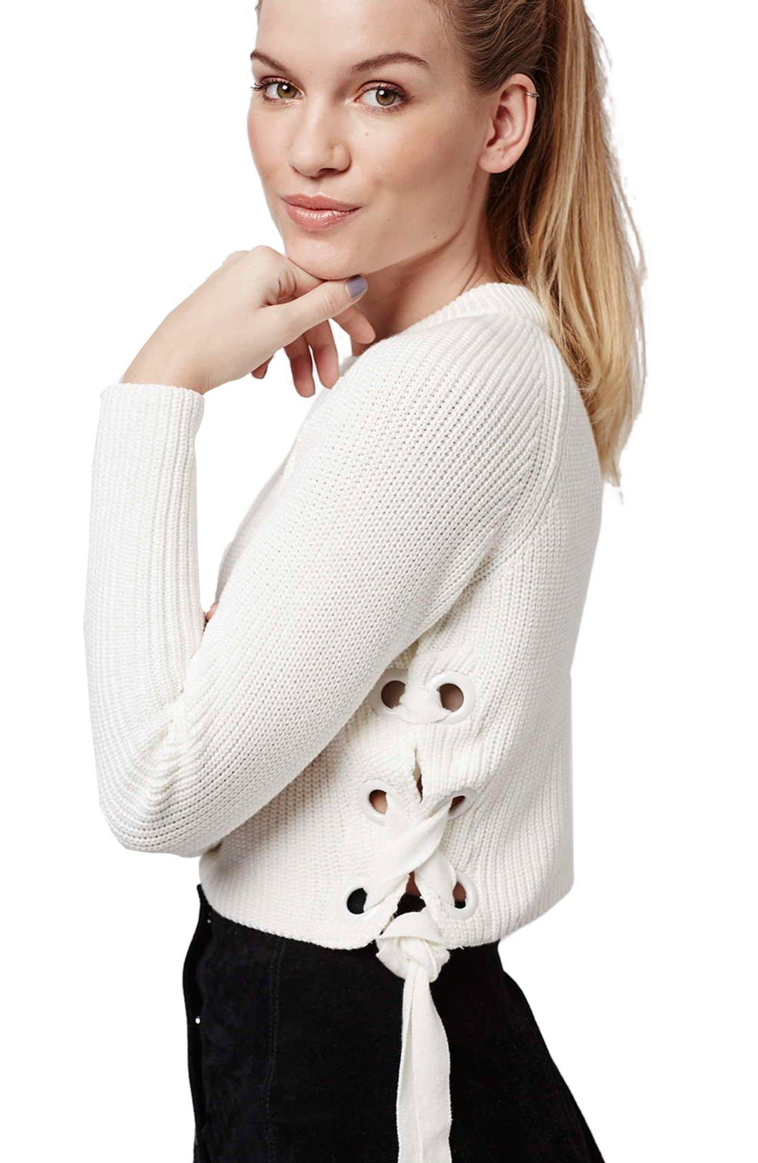 ,                             Side Tie Crop Sweater,                             Alternate thumbnail 12, color,                             900