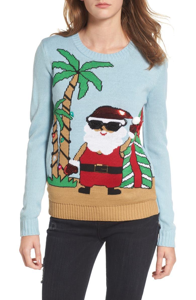 LOVE BY DESIGN Beach Santa Sweater, Main, color, 451