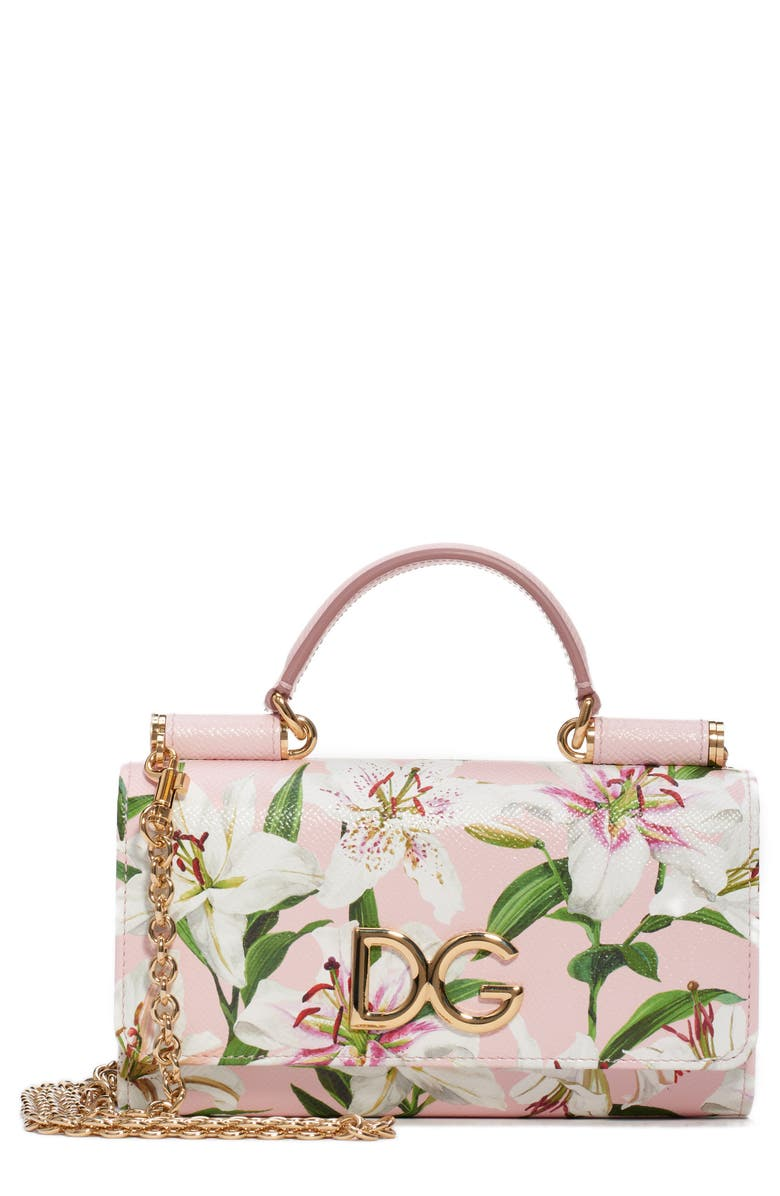 DOLCE&GABBANA Lily Print Leather Wallet on a Chain, Main, color, 660