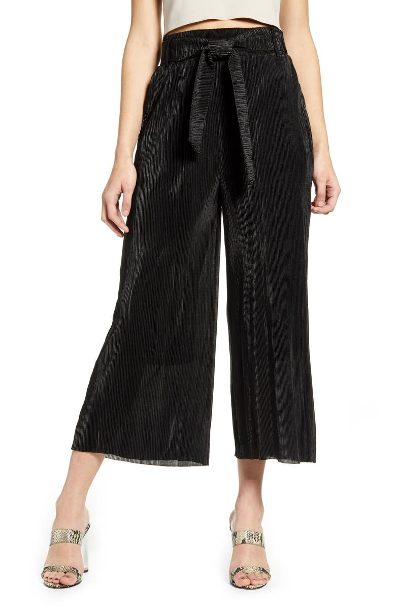ALL IN FAVOR Plissé Belted High Waist Wide Leg Pants, Main, color, BLACK