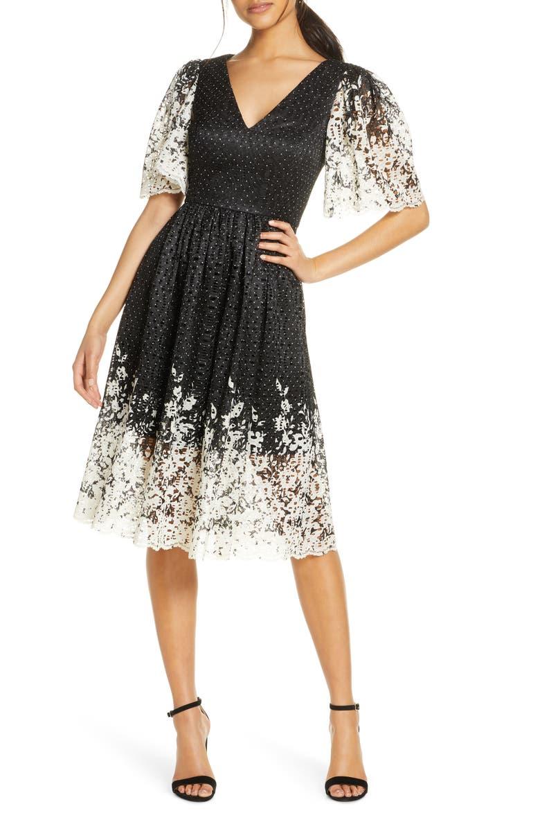 ELIZA J Floral Contrast Lace Dress, Main, color, BLACK