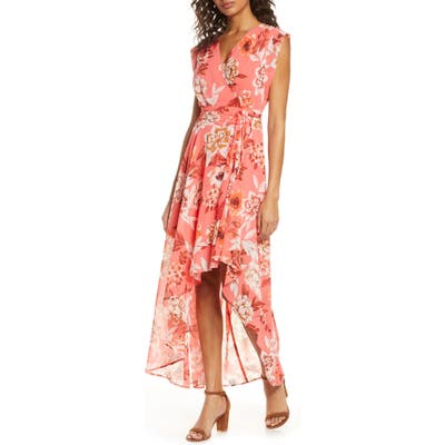 Petite Eliza J Surplice High/low Chiffon Maxi Dress, Pink