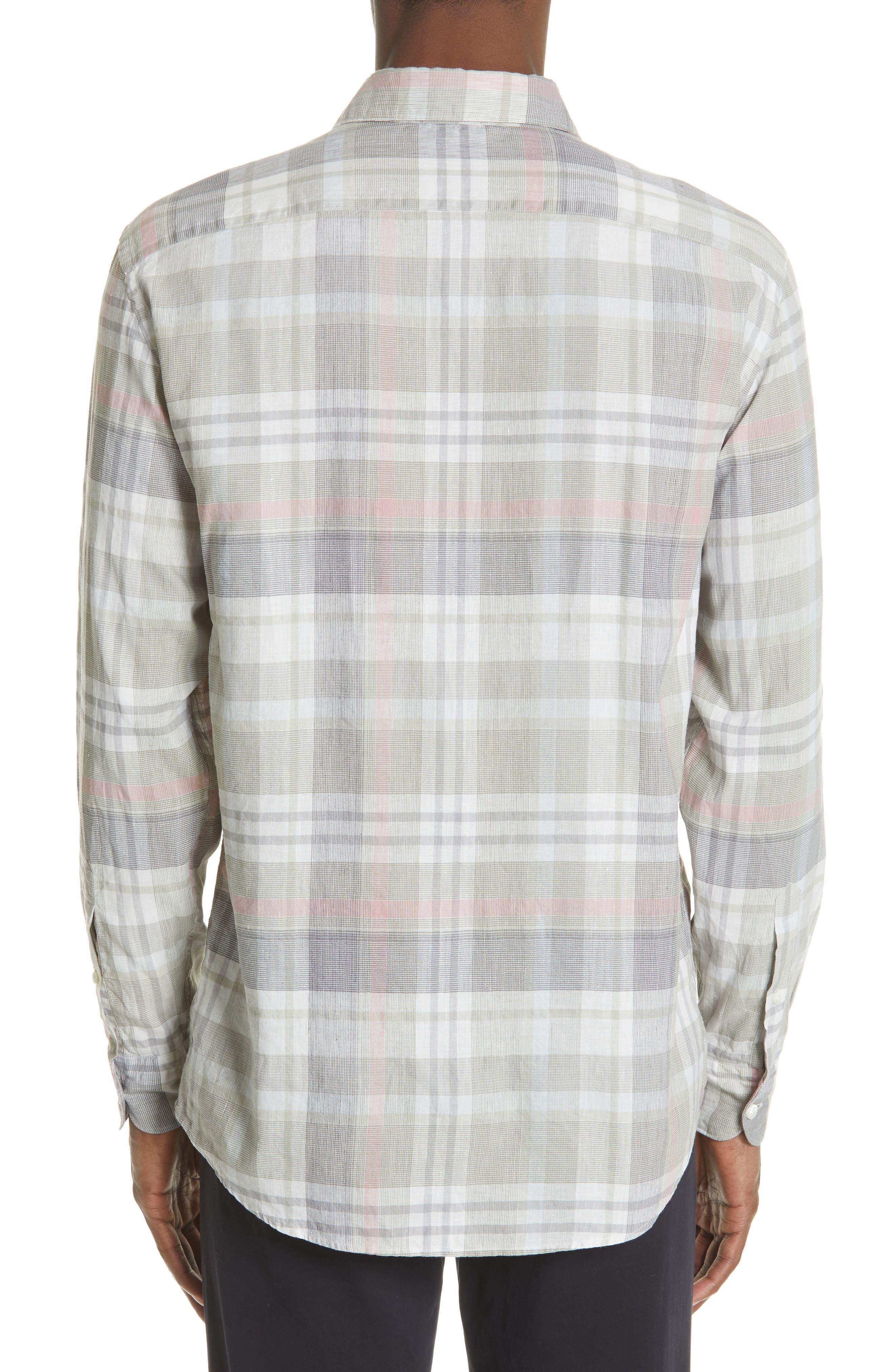 ,                             Slim Fit Plaid Linen & Cotton Sport Shirt,                             Alternate thumbnail 3, color,                             SAGE