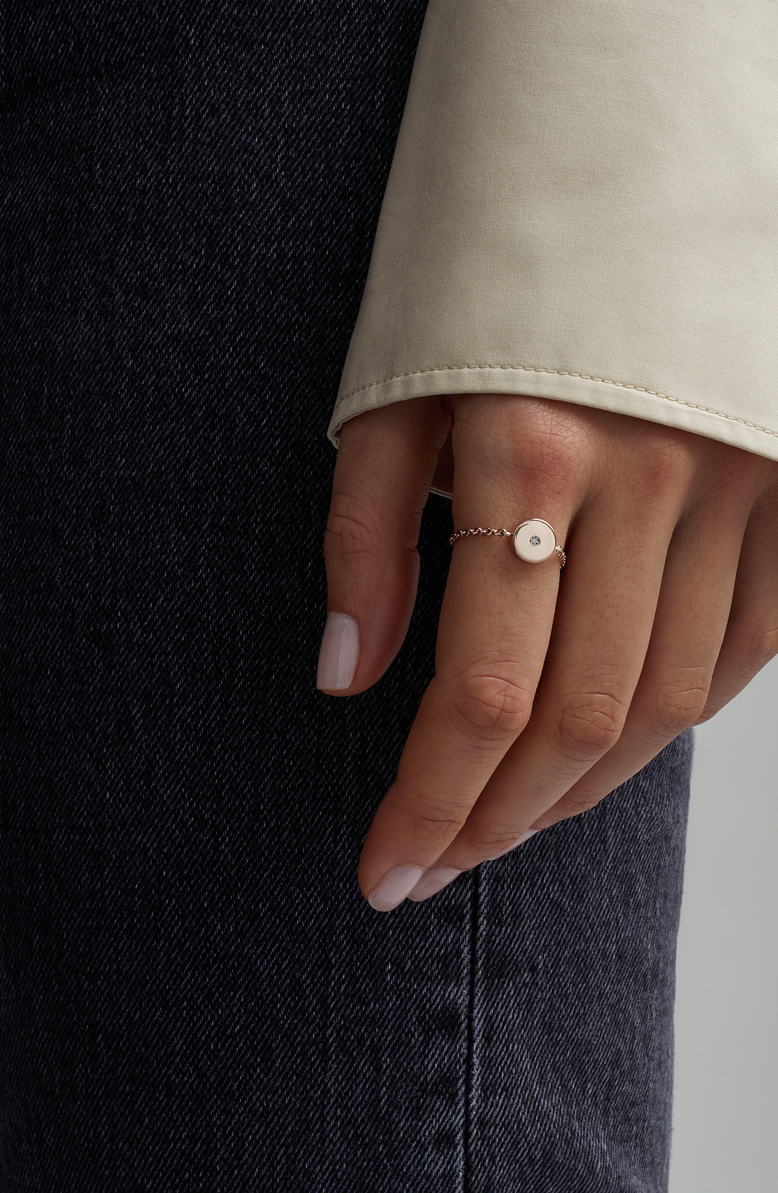 ,                             Linear Solo Diamond Friendship Chain Ring,                             Alternate thumbnail 2, color,                             ROSE GOLD/ DIAMOND