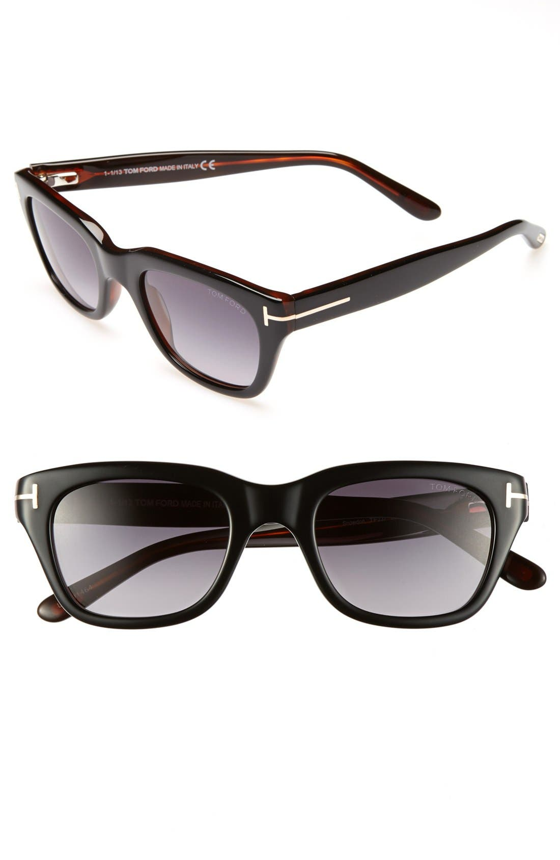 'Snowdon' 50mm Sunglasses, Main, color, SHINY BLACK
