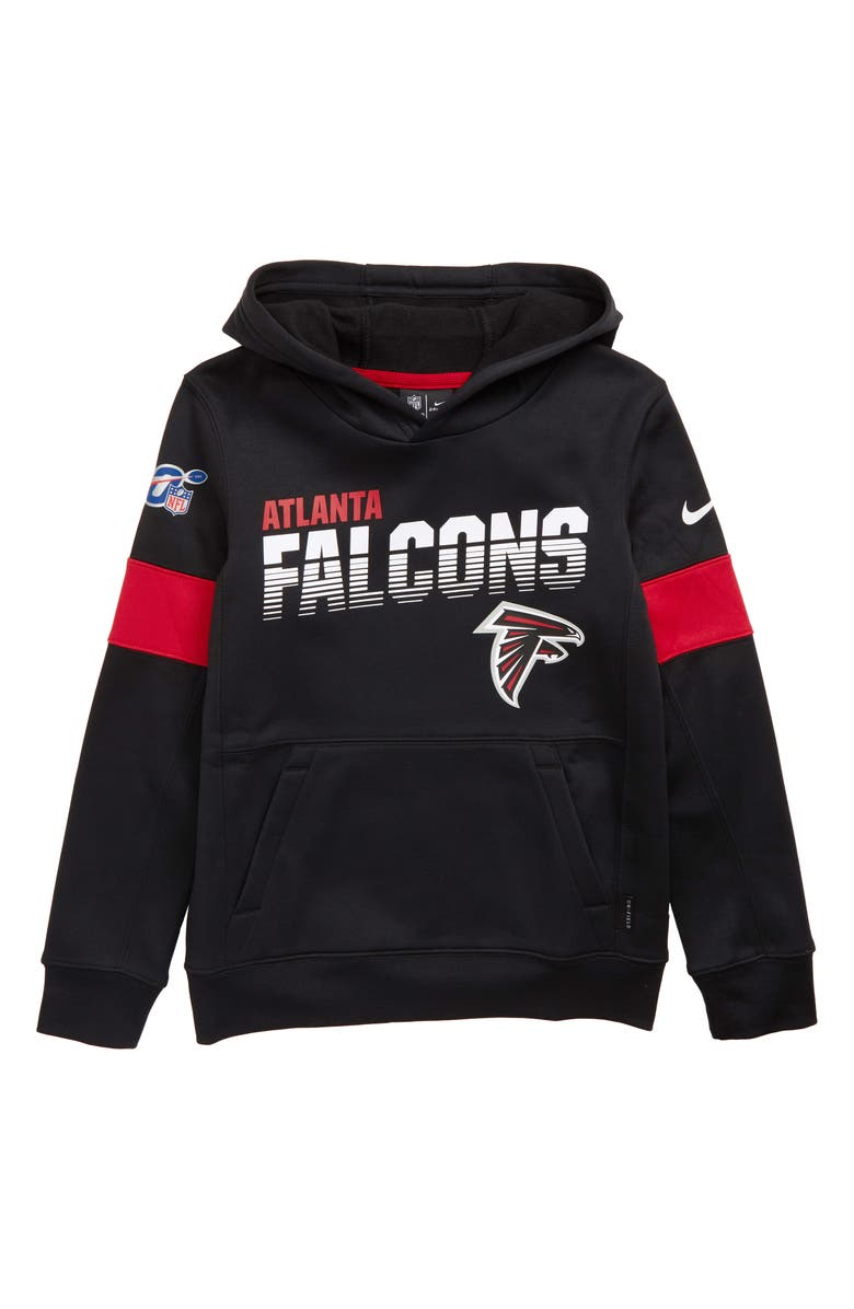 NIKE NFL Logo Atlanta Falcons Therma Dri-FIT Hoodie, Main, color, BLACK