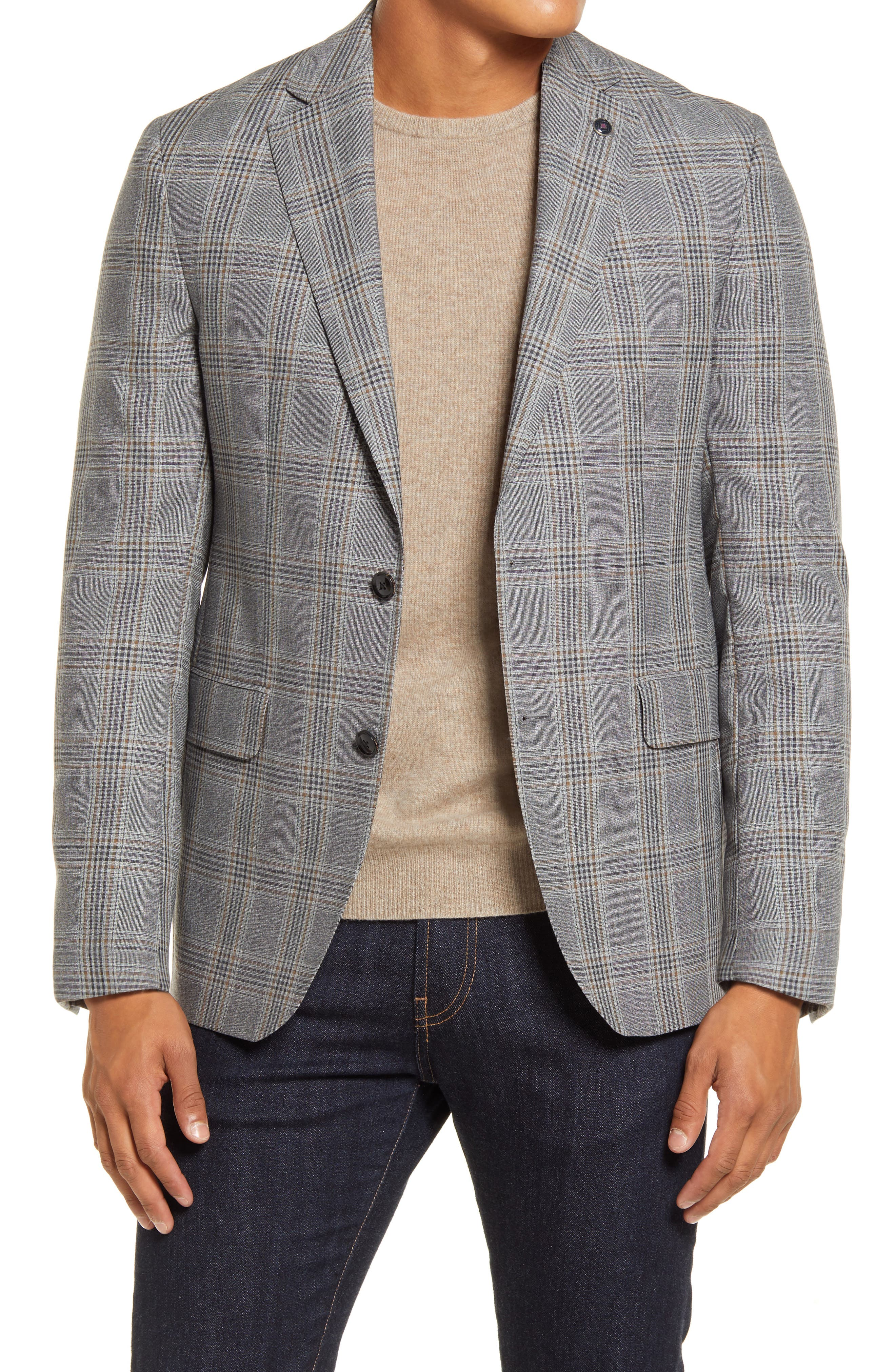 Richly textured Italian wool elevates a premium plaid blazer crafted in a crisp two-button cut framed with smart notched lapels. A bold print lining adds a tinge of vintage appeal. Style Name: Ted Baker London Konan Trim Fit Plaid Wool Blazer. Style Number: 6040370. Available in stores.