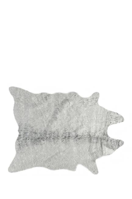 Image of LUXE Grey Faux Cowhide Rug - 4.25 ft x 5ft