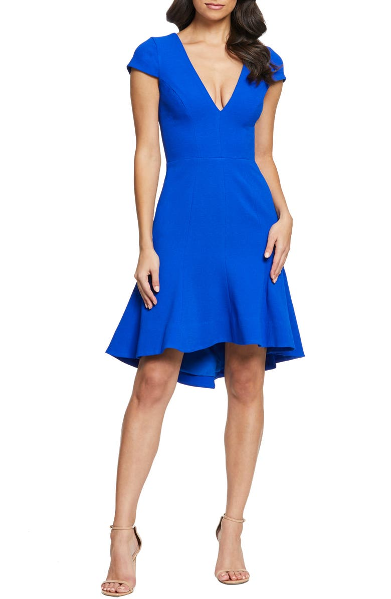 DRESS THE POPULATION Bettie High/Low Ruffle Hem Cocktail Dress, Main, color, 430
