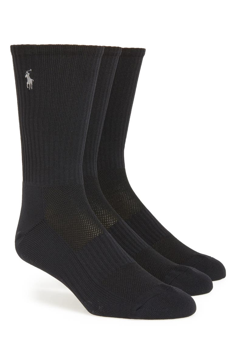 POLO RALPH LAUREN Tech Athletic Crew Socks, Main, color, BLACK