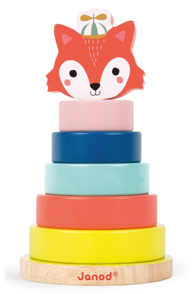 JANOD Baby Forest Wooden Fox Stacker Toy, Main, color, 960