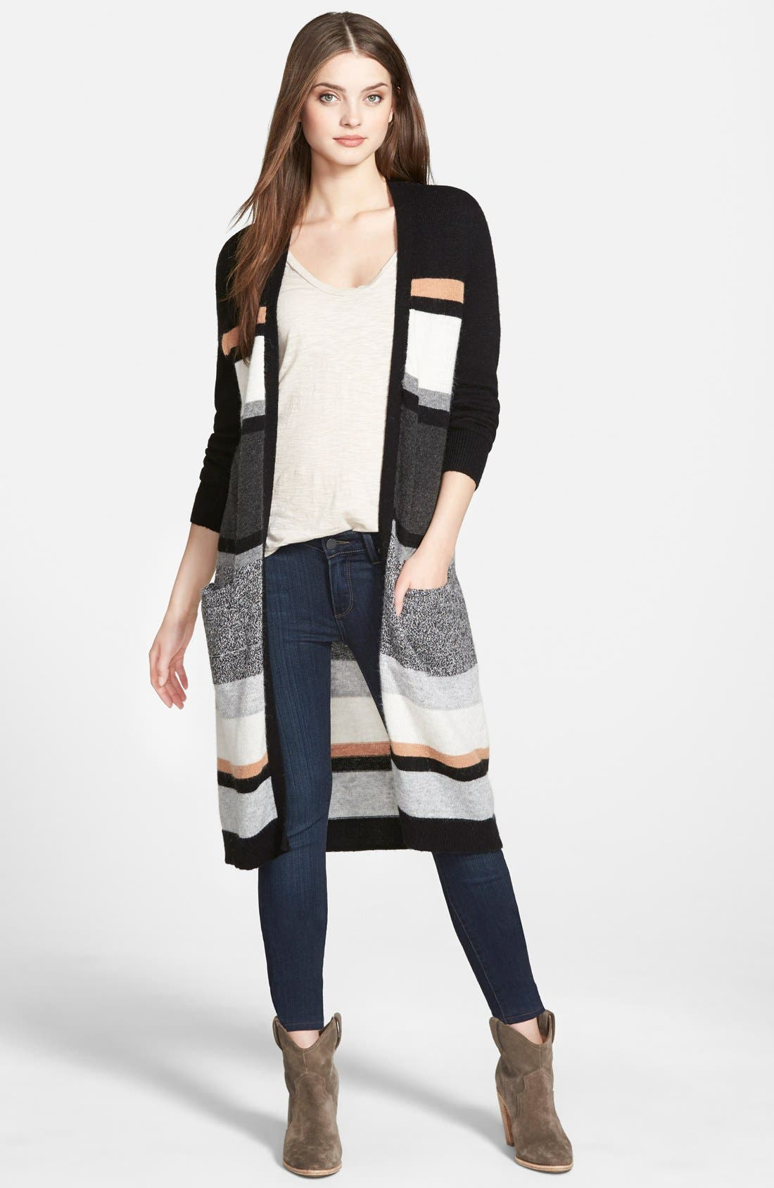 ,                             Long Open Front Cardigan,                             Main thumbnail 1, color,                             001