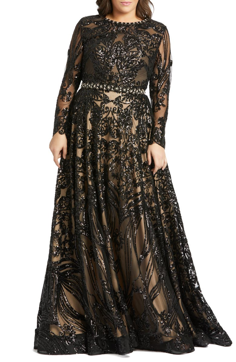 MAC DUGGAL Sequin Burnout Long Sleeve Ballgown, Main, color, 001